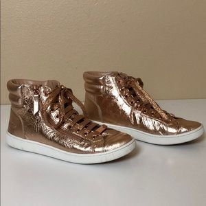 UGG Metallic Rose Gold Crinkle High Top Sneakers